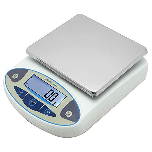 Large Range Lab Digital Precision Analytical Electronic Balance Lab Scale Precision Jewelry Scales Kitchen Precision Weighing Electronic Scale 0.1g Calibrated & Ready Pan Size: 180 140mm (5kg, 0.1g)