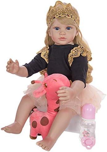 YIHANGG 60 Cm Reborn Enfant en Bas âge Poupée Longue Blonde Cheveux Bouclés Jouet pour Fille Silicone Vinyle Membres Princesse Bébés Vivants Bebe Enfant Cadeau d'anniversaire