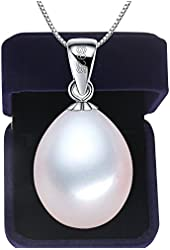 Acooe S925 Silver Pearl Necklace, Sterling Drop Shape Pendant Authentic Freshwater Cultured Pearl W9-10mm
