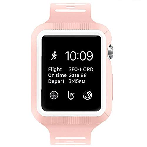 BRG Compatible with Apple Watch Band with Case, Silicone Sport Watch Band with Shock-Proof Protective Case Compatible with Apple Watch Series 3 Series 2 Series 1?Sport and Edition 38mm
