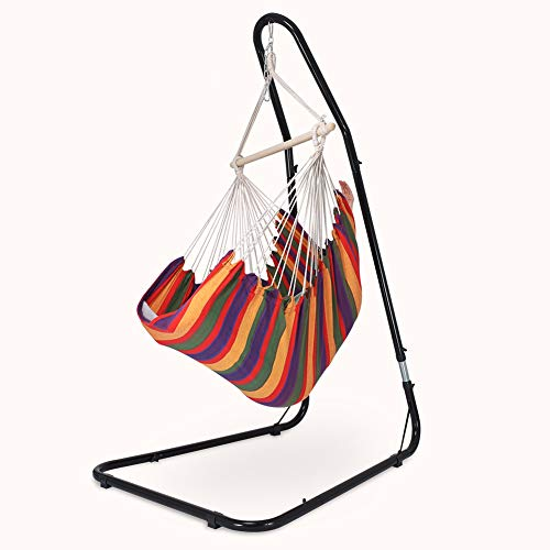 Zupapa Kingsize Hanging Rope Hammock Chair Swing Seat with Adjustable Stand for Any Indoor or Outdoor Spaces, 330 Pound Capacity, Chair Swing Stand Set