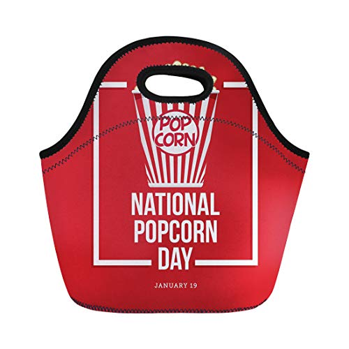 9ee3bfcfeab6 Semtomn Lunch Tote Bag Red American National Popcorn Day Box Celebration  Circle Corn Reusable Neoprene Insulated Thermal Outdoor Picnic Lunchbox for  ...