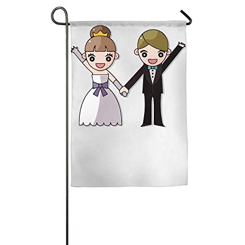 Oregon Agent Series - Wedding Couple Series Hand in Hand Garden Flag Indoor & Outdoor Decorative Flags for Parade Sports Game Family Party Wall Banner 28 x 40 inch