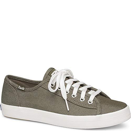 Keds Women's Kickstart Shimmer Chambray Sneaker, Olive, 7 M US (Womens Keds Green)