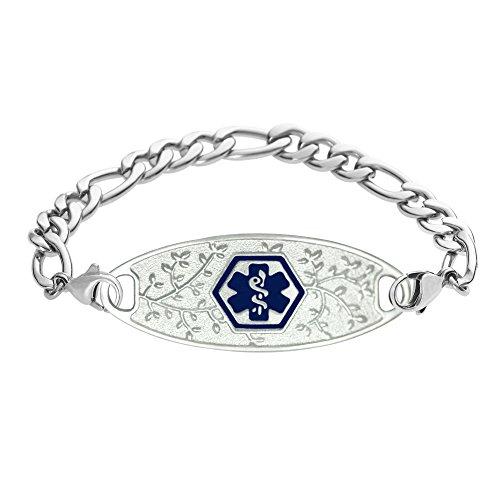 - Divoti Deep Custom Laser Engraved 316L Beautiful Olive Medical Alert Bracelet for Women w/Stainless Figaro Chain -Deep Blue-8.0
