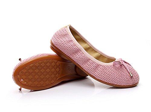 Seule KHSKX Cravate Chaussure À Le De Color Plat Pink Nouveau L'Aise Tressé À Et Pure Chaussures Loisirs Fond Pied Tissu wpxSwqBT