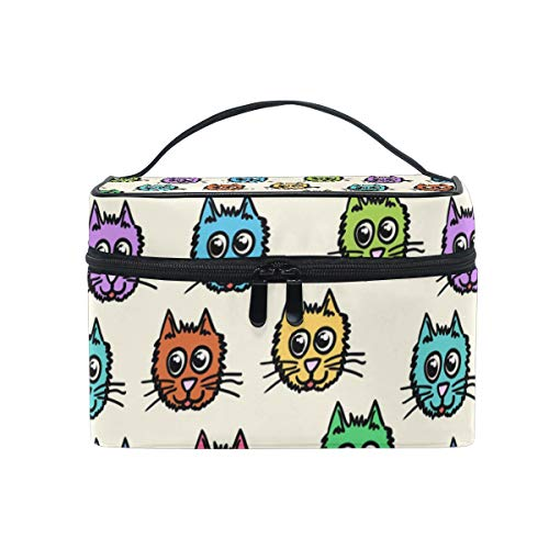 Makeup Bag Colorful Cats Heads Cosmetic Case Portable Carry Travel Toiletry Bag Toiletry Bags for Womens Storage Bag]()