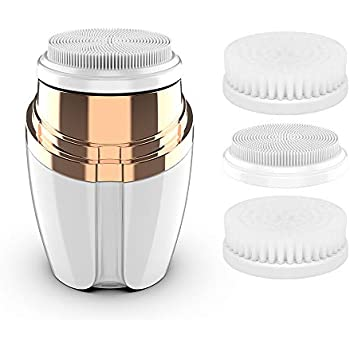 Sonic Facial Cleansing Brush, Electric Facial Vibrating Brush Waterproof Rechargeable Face Brush with 3 Facial Brush Heads for Face Pore Cleaner, Exfoliating, Removing Blackhead and Massaging
