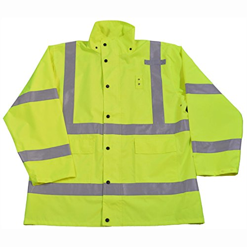 Petra Roc LRJK-C3-L Rain Parka Jacket Waterproof ANSI/Isea Class 3 No Lining with Detachable Hood Storm Flap with Zipper/Snap Closure, Large, Lime