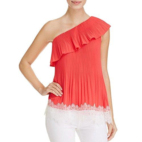 Michael Michael Kors Womens Chiffon Lace Trim Blouse Red 8