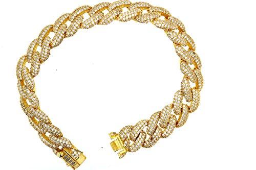 Cuban Link Bracelet, Silver And Cubic Zirconia Link Bracelet by DiamondJewelryNY