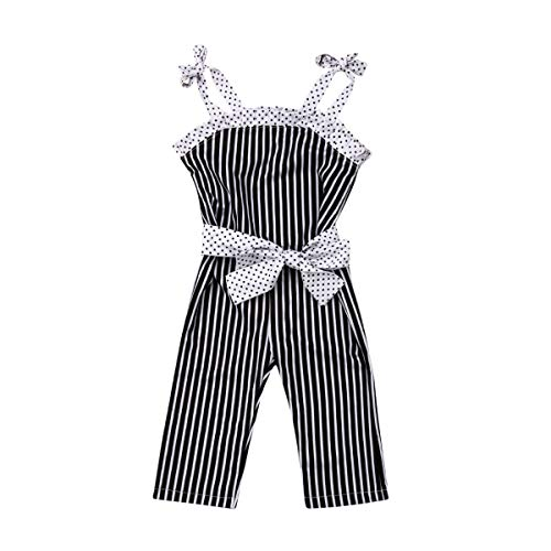 Toddler Kids Infant Baby Girls Cute Pants Bowknot Strap Stripe Romper Jumpsuit Top Outfits Clothes Set (3-4 Years, Black)