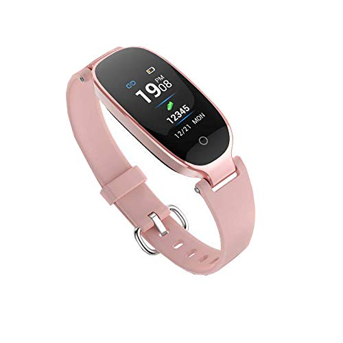 Fitness Tracker,Women Smart Fitness Watch, Heart Rate Monitor Smart Bracelet IP67 Waterproof Smart Bracelet with Health Sleep Activity Tracker Pedometer for Smartphone (Rose Gold+H)