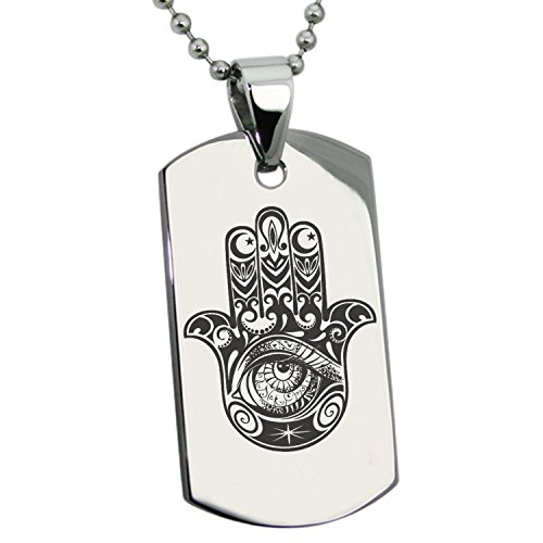 Stainless Steel Crescent Hamsa Hand of Fatima Symbol Engraved Dog Tag Pendant Necklace
