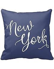 Custom Chic Navy Blue And White New York Typography Pillowcases