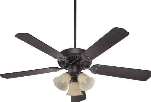 Quorum International 77525-1744 Capri VI 52-Inch 3 Light Ceiling Fan, Toasted Sienna Finish with Amber Scavo Glass Light Kit and Reversible Blades
