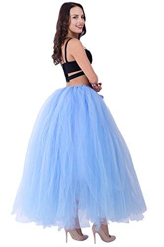 (Women's 3 Layer Full Length Long Tutu Princess Tulle Midi Skirt(Light Blue) )