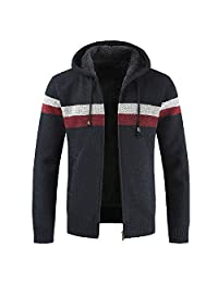 Men Sherpa Lined Coat Jacket Thickened Hooded Knit Cardigan Sweater