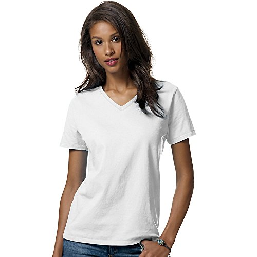 Hanes Women's Relax Fit Jersey V-Neck Tee 5.2 oz (Pack of 1) Size:Large Color:White (Dance Womens V-neck T-shirt)