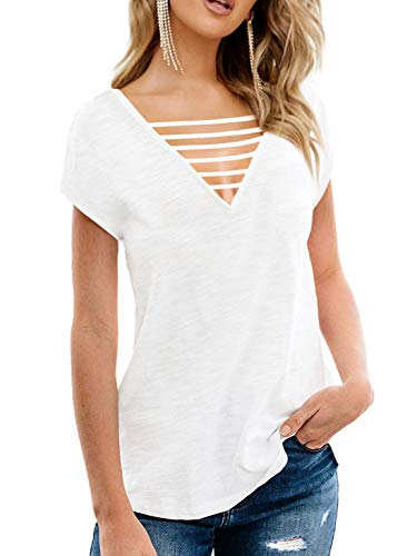 Top Cut White Low Sexy - Beluring Womens Criss Cross Front Tops Casual V Neck T Shirt with Side Split White