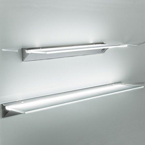 SO-TECH® LED Leuchtregal SARA Leuchtfarbe neutral weiß ( 4000K ) Lichtboard Glasregal 1200 mm
