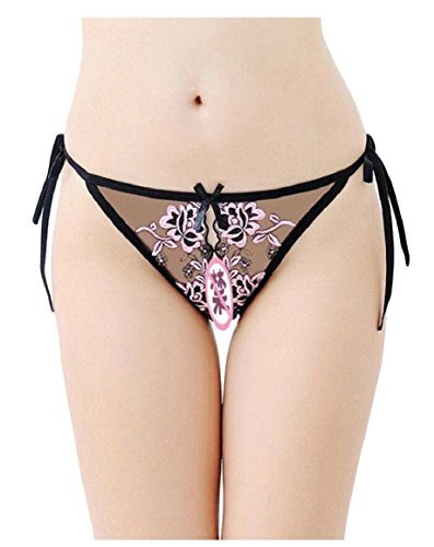 ouxiuli Women's Lace Embroidered Open Crotch Thong Panties 4 OS ()