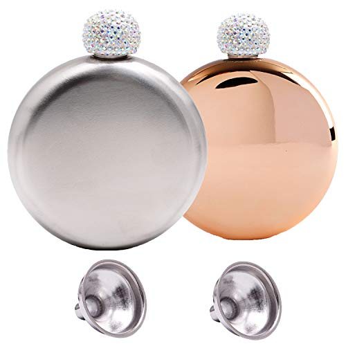 Humphrey Amelia Stainless Steel Wine Flask with Crystal Lid and funnel (silver and rosegold)