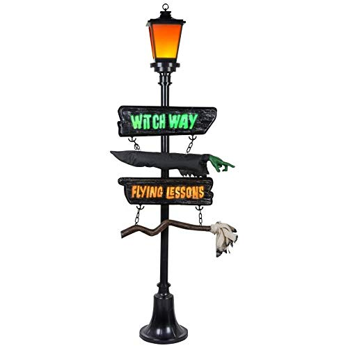 Holiday Living Gemmy '6 Ft Halloween Outdoor Flickering LED Witch Way Lamp Post for $<!--$129.94-->