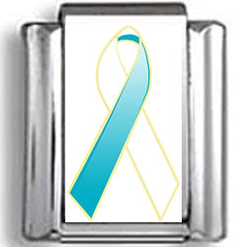 White Awareness Ribbon Photo Charm - White and Teal Cervical Cancer Awareness Ribbon Photo Italian Charm