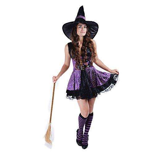(Charm Rainbow Women's Wicked Witch Costume Fairytale Halloween Fancy Dress,)