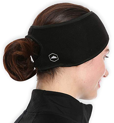 Womens Ponytail Headband - Fleece Ear Warmers Head Band - Perfect for Running, Outdoor Sports & Daily Wear - Stay Warm & Cozy with Our Thermal Polar Fleece & Performance Stretch -