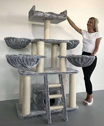Rascador para gatos grandes Panther PLUS Gris calro baratos arbol xxl maine coon gato adultos con hamaca gigante sisal muebles sofa escalador torre ...