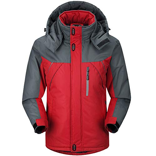 iLXHD Men's Zip Thick Fleece Coat Outwear Waterproof Windbreaker Jacket(Red,XL)