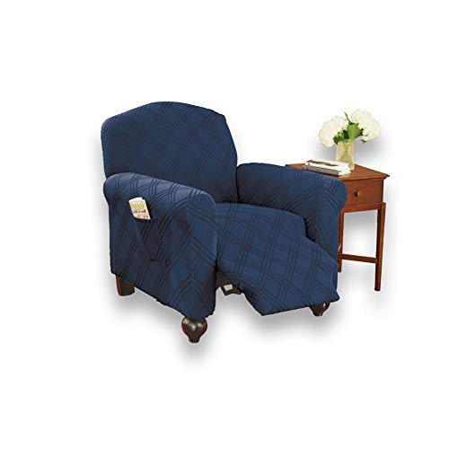 Collections Etc Double Diamond Form Fit Stretch Furniture Slipcover, Navy, Recliner