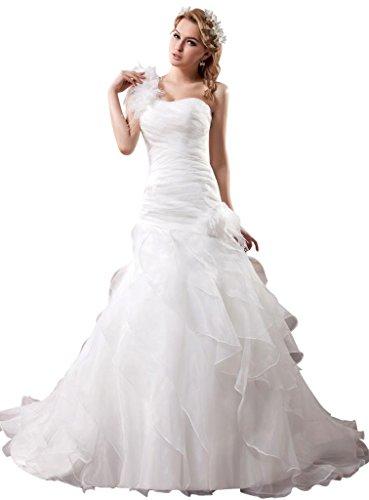 Neu Elegant Brautkleid Design GEORGE BRIDE Organza Weiß Schulter 1 PHWWInfq