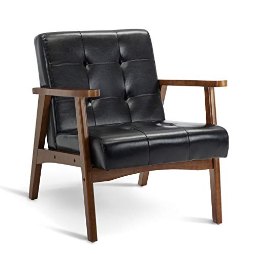 Artechworks Mid-Century Retro Modern PU Leather Accent Upholstered Wooden Lounge Arm Chair for Living Room Bedroom Apartment Black
