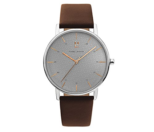 Men's Watch Pierre Lannier - 202J184 - ELEGANCE STYLE - Deep Brown and Grey - Leather Band