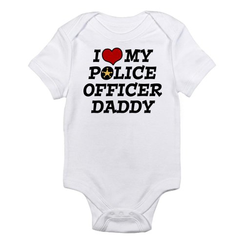 CafePress - I Love My Police Officer Daddy Infant Bodysuit - Cute Infant Bodysuit Baby Romper