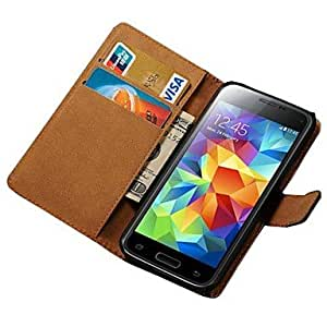 PEACH ships in 48 hours Genuine Leather Case for Samsung Galaxy S5 Mini G800 Wallet Style , Brown