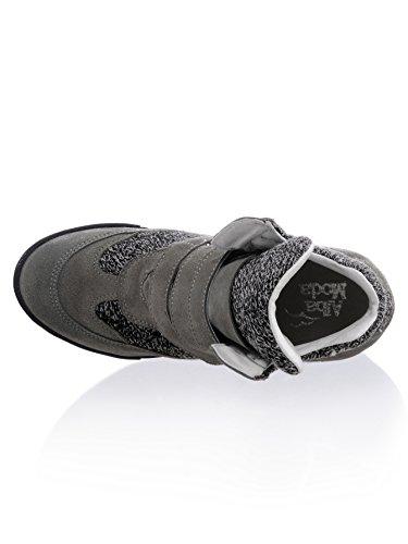 Alba Moda Keilsneaker mit Klettverschlüssen Grau