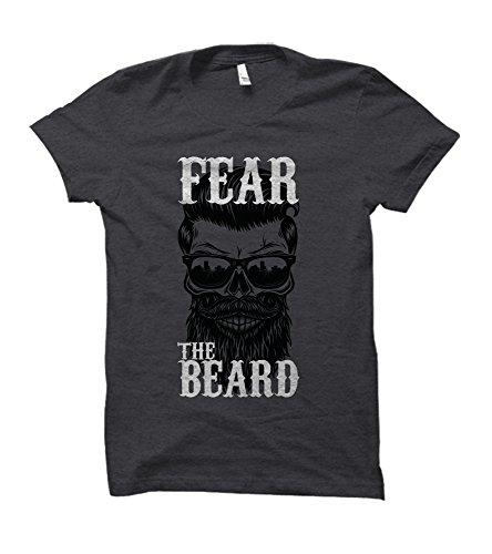 Fear The Beard Skeleton Adult T-Shirt (Large, Dark Heather)