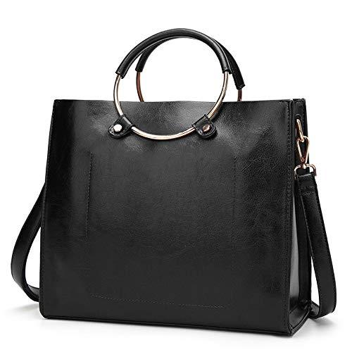 Bag marrón Wax Retro Slung Tide Negro Ring Fashion Handbag Leather hlh Women's Oil Shoulder 5FPpF