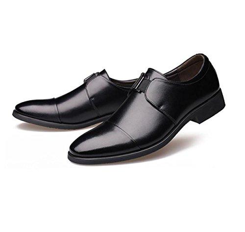 GRRONG Zapatos De Cuero De Los Hombres De Negocios Acentuadas Vestimenta Formal Amarillo Negro Black