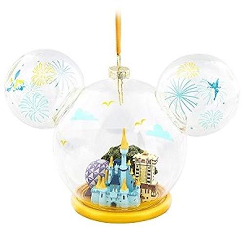 Disney Walt World 4 Parks Large Glass Globe Mickey Mouse Ear Ornament (Christmas Mickey Ears Mouse Ornaments)