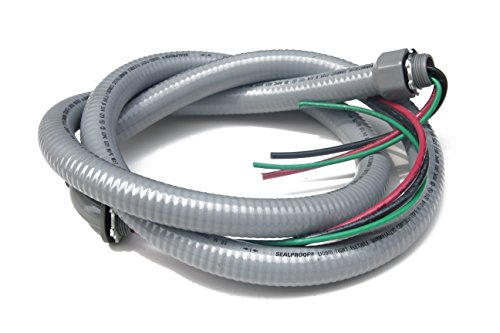 """Sealproof Power Whip Assembly, 3/4-Inch x 6 Ft Nonmetallic Liquid Tight Flexible Electrical Conduit and 8 Gauge Wire Single Phase Preassembled A/C Hook-up Whip Kit, 3/4"""" Dia"""