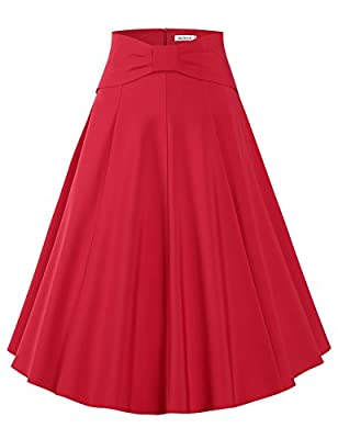 MUXXN Women's Vintage Style A Line Solid Color Pleated Flared Skirts