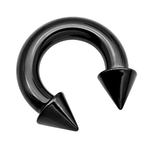 vcmart PA Ring-Internally Threaded Black Spike Circular Barbells Horseshoe 00G 19mm 316L Surgical Steel Pierced Body Jewelry Sold Individually