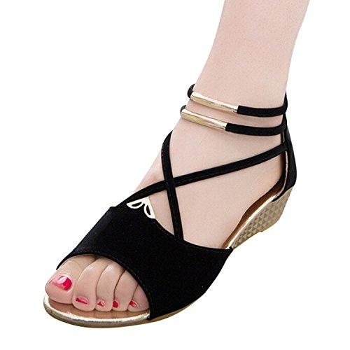 Roman Flat Sandals (Hee Grand Women Roman Style Open Toe Cross Strap Flat Sandals Black8.5)