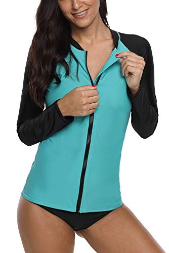 Vegatos Women's Zipper Front Long Sleeve Rash Guard UV Swim Shirt Colorblock Aqua-Navy