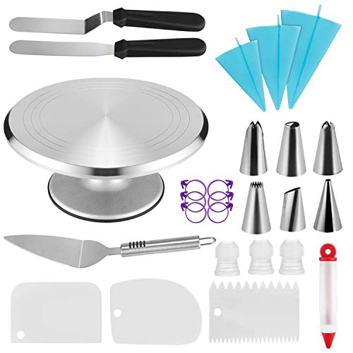 Cake Decorating Supplies Aluminium Cake Turntable with 6 Cake Decorating Tips, 2 Icing Spatulas, 3 Icing Smoother 3 Couplers Decorating Pen Cake Shovel 3 Pastry Bags